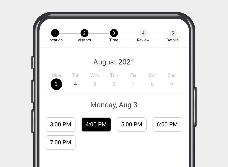 Library reservation calendar smartphone